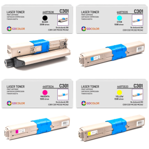 4 X Toner do OKI C301 C321 MC332 MC342 44973533, 44973534, 44973535, 44973536, zamiennik