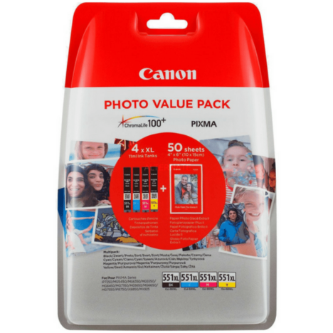 Canon oryginalny Tusz CLI551XL 6443B006 CMYK Photo Value Pack